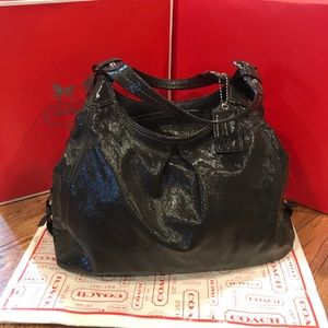 XL Coach Madison Maggie Gray Patent Leather Purse